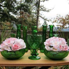 11 Piece Vase Set in Emerald Green - Lot C. $42.50, via Etsy.