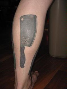 Meat tattoos on pinterest pig tattoos michael symon and for Butcher knife tattoo