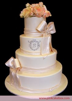 Monogrammed Flower Wedding Cake by Pink Cake Box