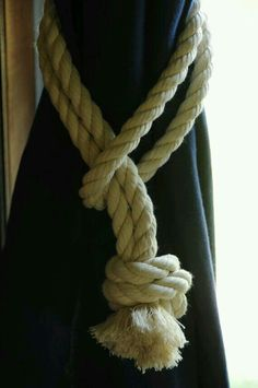 Nautical Decor - Cotton - Rope Curtain Tie Backs (this is for a pair) for a Nautical nursery.