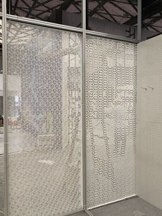 perforated metal screen Metal Mesh Screen, Metal Facade, Expanded Metal Mesh, Perforated Metal, Metal Ceiling, Annex, Beautiful Interiors, Bench, Architecture