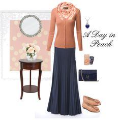 A Day in Peach by beautifully-modest-fashion on Polyvore featuring A2 by Aerosoles, Aspinal of London, Ice, Yuh Okano and Samsung