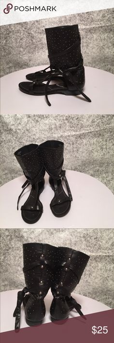 🐜Saddle Up Sandal 🐜 Black faux leather calf sandal. Round studded all over embellishment with tie up. Size 8.5 Nine West Shoes Sandals