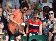 She's on the move (cue tense music) - LONDON, ENGLAND - JULY 01: Olivia Colman and Emilia Fox attend the Nick Kyrgios v Rafael Nadal match on centre court during day eight of the Wimbledon Championships at Wimbledon on July 1, 2014 in London, England. (Photo by Karwai Tang/WireImage)