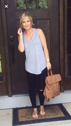 Spring casual grey tank black ripped skinnies tan sandals