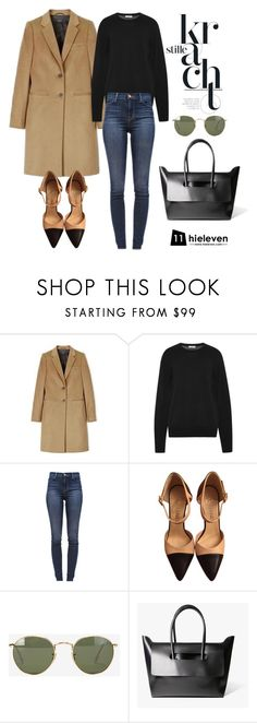 """""""Oversized Coat × Beige and Black Pumps"""" by hielevencom ❤ liked on Polyvore featuring Joseph, Equipment, J Brand, Chanel and Ray-Ban"""