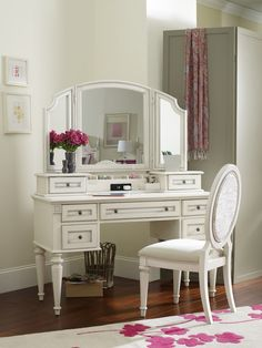 Opus Designs Claire Claire White Vanity Desk, Hutch, Mirror, and Chair