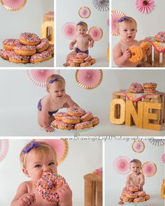 Donut Smash Kenzie's Birthday First Birthday Donut Smash Session 1st Birthday Photoshoot, 1st Birthday Party For Girls, Donut Birthday Parties, Baby Girl First Birthday, Donut Party, Birthday Ideas, Birthday Gifts, Birthday Wishes, Birthday Girl Pictures