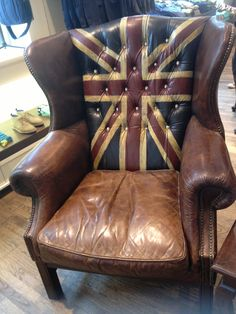 Union Jack chair, best reading chair, ever. British Decor, British Style, Union Jack Tattoo, Union Jack Decor, Man Cave Bar, Basement Renovations, Butterfly Chair, Deco Design, Take A Seat