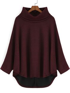 Wine Red High Neck Dip Hem Loose Sweatshirt
