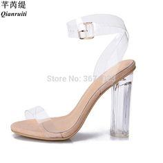 Qianruiti Lucite zapatos kim Kardashian sandalias claras 11 cm 9 cm  plexiglás bloque tacones de cristal 6181c03b61c9