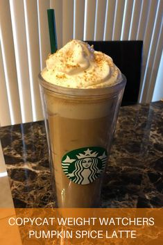 Starbucks Copycat Pumpkin Spice Latte 3 Freestyle Points 3 pt PSL : 4 ounces espresso or coffee 3 Truvia packets 1 Premier Protein Caramel Shake Fat free whipped topping Tbsp) cup canned pumpkin cinnamon nutmeg Low fat graham cracker crumbs (optional) Starbucks Recipes, Coffee Recipes, Pumpkin Recipes, Weight Watchers Pumpkin, Weight Watchers Desserts, Weight Watchers Shakes, Weight Watcher Smoothies, Skinny Pumpkin Spice Latte, Weigt Watchers
