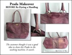 Prada makeover before restoration Tips for cleaning lambskin handbags.