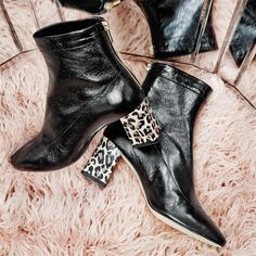 f333b27c3691 Office All Day Back Zip Block Heel Boots Black Leather With Snake Leopard  Heel - Ankle Boots