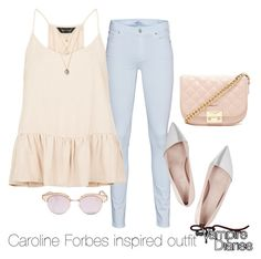 """Caroline Forbes inspired outfit/TVD"" by tvdsarahmichele ❤ liked on Polyvore featuring 7 For All Mankind, New Look, Giambattista Valli, Forever 21 and Le Specs"