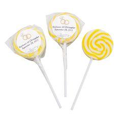 Yellow Wedding Ring Personalized Swirl Pops - OrientalTrading.com