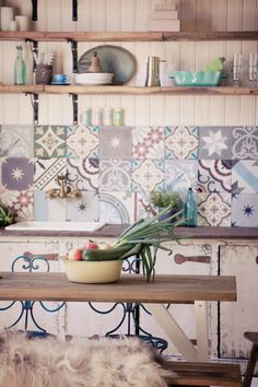 Mixed handmade tiles in muted tones - for the laundry sink Home Deco, Layout Design, Mexican Interior Design, Rustic Home Design, Stylish Kitchen, Handmade Tiles, Rustic Kitchen, Bohemian Kitchen, Home Upgrades