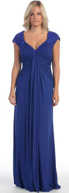 May Queen MQ799 Plus Size Mother of the Bride Dress. Embroidered-rhinestone embellished cap sleeve, V-neck pleated bodice tea length column dress. Chat with us at http://messenger.providesupport.com/messenger/therosedress.html?ps_s=4bE8rspYpohy