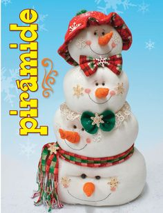 "Snowman pattern: ""Me, Myself, & I"" - Christmas Clay, Christmas Sewing, Christmas Snowman, Christmas Time, Christmas Crafts, Christmas Decorations, Christmas Ornaments, Holiday Decor, Christmas Things"