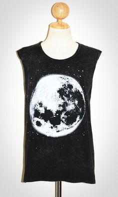The Moon Bleached Black Singlet Sleeveless Art Universe Punk Rock T-Shirt Size L