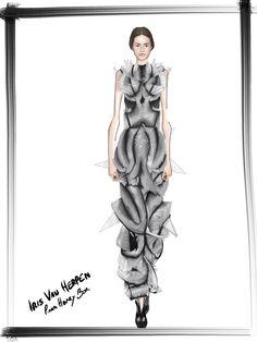 Adriana Lima  Iris Van Herpen Sketch / Illustration