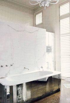 distressed mirror front bath tub