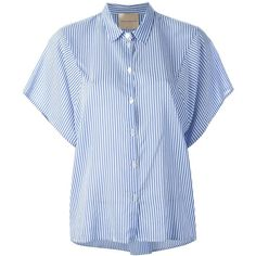 Erika Cavallini Semi Couture Striped Shirt (230 CAD) ❤ liked on Polyvore featuring tops, blue, cotton shirts, blue stripe shirt, striped top, blue top and stripe shirt