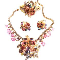 Breathtaking Elegance Vintage Hattie Carnegie Clamper Necklace and earrings