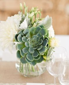 Succulents are a great way to liven up wedding tablescapes!