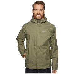Columbia Watertight II Jacket (Cypress) Men's Coat ($60) ❤ liked on Polyvore featuring men's fashion, men's clothing, men's outerwear, men's jackets, mens hooded jackets, mens waterproof jackets, mens short sleeve jacket and mens jackets