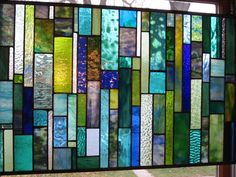 Stained Glass Window Sea Glass Ocean blues and greens Custom Made. $475.00, via Etsy.