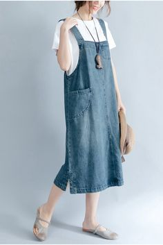 2018 Summer Blue Denim Suspender Skirt Women Clothes - FantasyLinen Source by smerekj clothes hijab Casual Outfits, Summer Outfits, Fashion Outfits, Womens Fashion, Look Retro, Suspender Skirt, Pants For Women, Clothes For Women, Apron Dress