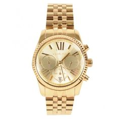 Michael Kors Chrono Round Case Bracelet Watch ($300) ❤ liked on Polyvore featuring jewelry, watches, accessories, bracelets, michael kors, gold, dial watches, stainless steel watches, bracelet jewelry and michael kors watches