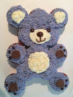 Ideas for cupcakes cakes pull apart bear Teddy Bear Cupcakes, Animal Cupcakes, Ladybug Cupcakes, Kitty Cupcakes, Snowman Cupcakes, Pull Apart Cupcake Cake, Pull Apart Cake, Cupcake Cake Designs, Cupcake Cakes