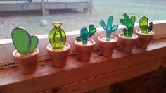 No green thumb needed for these great stained glass cacti! Already potted for you also!  I used a mix of green glasses to create these adorable mini cactus. They are potted in mini terracotta pots and ready to bring some color wherever you place them! Each cactus pot is finished off with loose pebbles.  This listing is for single cacti, but I have the set of 6 listed here: https://www.etsy.com/listing/495314861/set-of-6-stained-glass-cactus-great-gift and the price re...