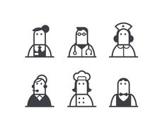 Illustrated icon set of finger people...? #illustration #icons #dribbble