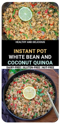 Instant Pot Coconut Quinoa And White Bean Salad is packed with fresh ingredients that will leave you craving for more! A perfect on-the-go pilaf that can be enjoyed hot or cold #instantpotrecipes #quinoarecipes #veganrecipes #whatsfordinner #glutenfree Best Vegetarian Recipes, Easy Healthy Recipes, Indian Food Recipes, Whole Food Recipes, Side Dishes Easy, Side Dish Recipes, Coconut Quinoa, Pressure Cooker Recipes, Slow Cooker