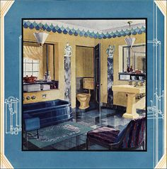 1929 Crane Bathroom Published in American Home, another Crane ad for a higher end bathroom. Vintage Room, Vintage Decor, Vintage Homes, Vintage Tile, Art Deco Bathroom, Bathroom Designs, 1920s Bathroom, Modern Bathroom, Art Nouveau