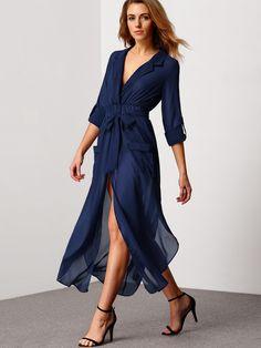 Vestido escote pico cordón bolsillos gasa - azul-Spanish SheIn(Sheinside)