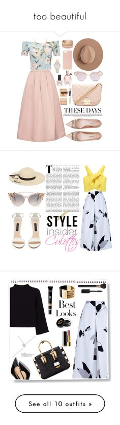 """""""too beautiful"""" by jennifferbarahona ❤ liked on Polyvore featuring Rochas, Miss Selfridge, Henri Bendel, Calypso Private Label, Miu Miu, Forever 21, ncLA, Bobbi Brown Cosmetics, Viktor & Rolf and Le Specs"""