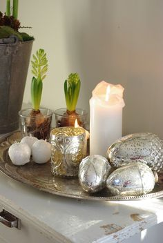 Mercury glass, got the acorns, like the hyacinth bulb idea, but not in mercury glass, use clear