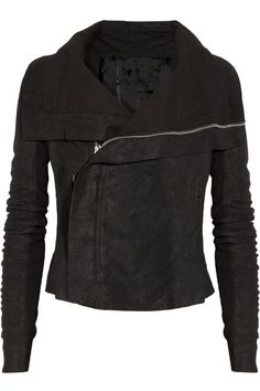RICK OWENS Blister washed-leather biker jacket - been wanting a Rick Owens jacket for years now. Burberry Brit, Rick Owens, Fashion Outfits, Womens Fashion, Passion For Fashion, Style Me, Winter Fashion, Casual, How To Wear