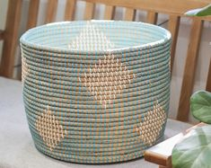 Etsy :: Your place to buy and sell all things handmade Seagrass Storage Baskets, Wicker Baskets, Grocery Basket, Paper Roll Holders, Natural Weave, Vintage Storage, Creative Storage, Toy Organization, Basket Decoration