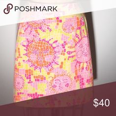 Lilly sun print cotton pencil mini Lilly, Lilly Pulitzer baby! Sun design in tiles of pink, fuchsia, lime & Orange on white. 1 welt, button pocket in back. Size 10. 100% cotton. PM#287 Lilly Pulitzer Skirts Pencil
