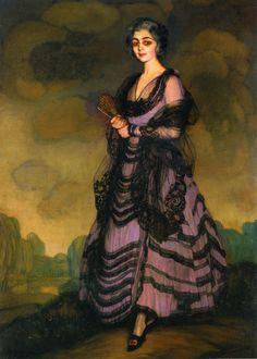Obras de Arte: Pintor español Ignacio Zuloaga - Retrato de la Sra Corcuera