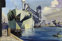 The Canada Dock, 1918, oil painting, John Everett, National Maritime Museum, UK