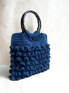 Crochet Purse Ruffle Purse Crochet Handbag Bamboo by lukesmom6