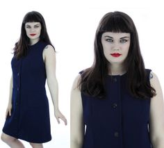 70s Mod Mini Dress 60s Vintage Aline Navy by neonthreadsdesigns, $42.00