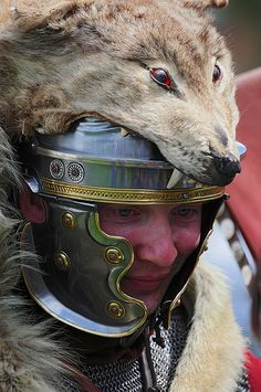 Roman Soldier with Wolf Skin Headdress, Ermine Street Guard, Kelmarsh Festival of History 2009