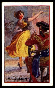 "Cigarette Card - Opera, Carmen         Ruddell's Cigarettes ""Grand Opera Series"" (issued in 1924) #3 Bizet's ""Carmen"""